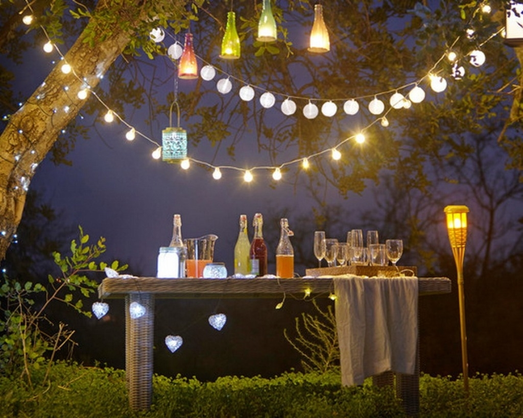 Outdoor And Patio: Attractive Outdoor Party Lighting With String with Garden Light Ideas For A Party