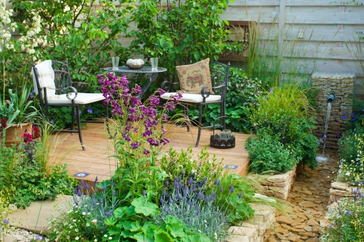 29 Serene Garden Patio Ideas And Designs (Picture Gallery) in Garden Ideas For Small Square Gardens