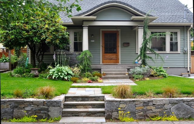 Basalt Retaining Wall, Bluestone Stairs + Entry Path - Craftsman with Landscaping Ideas For Front Yard Of Bungalow