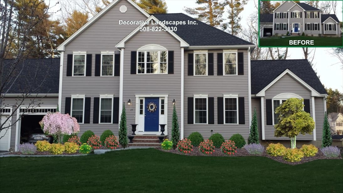 Colonial Home, Front Yard Landscape Design, Lakeville, Ma   Front pertaining to Landscaping Ideas For Front Yard Of Colonial