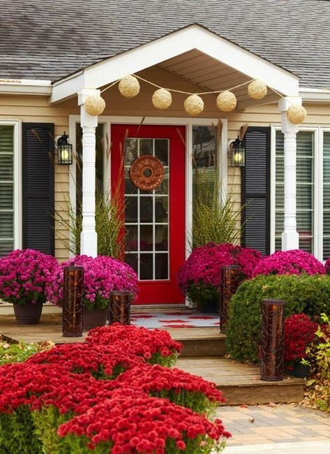 Front Door Decoration With Red Colors, 22 House Exterior Design Ideas for Landscaping Ideas For Front Yard Facing North