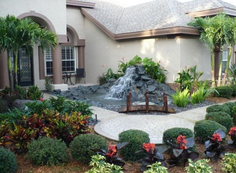 Landscape Ideas For A Small Front Yard With Small Waterfall for Tropical Landscaping Ideas Small Front Yard