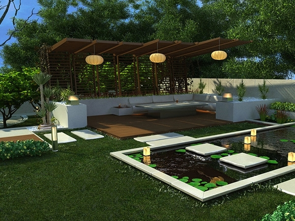 Outdoor And Gardening Designs: Lotus Backyard Pool Landscaping for Small Backyard Landscaping Ideas With Pool