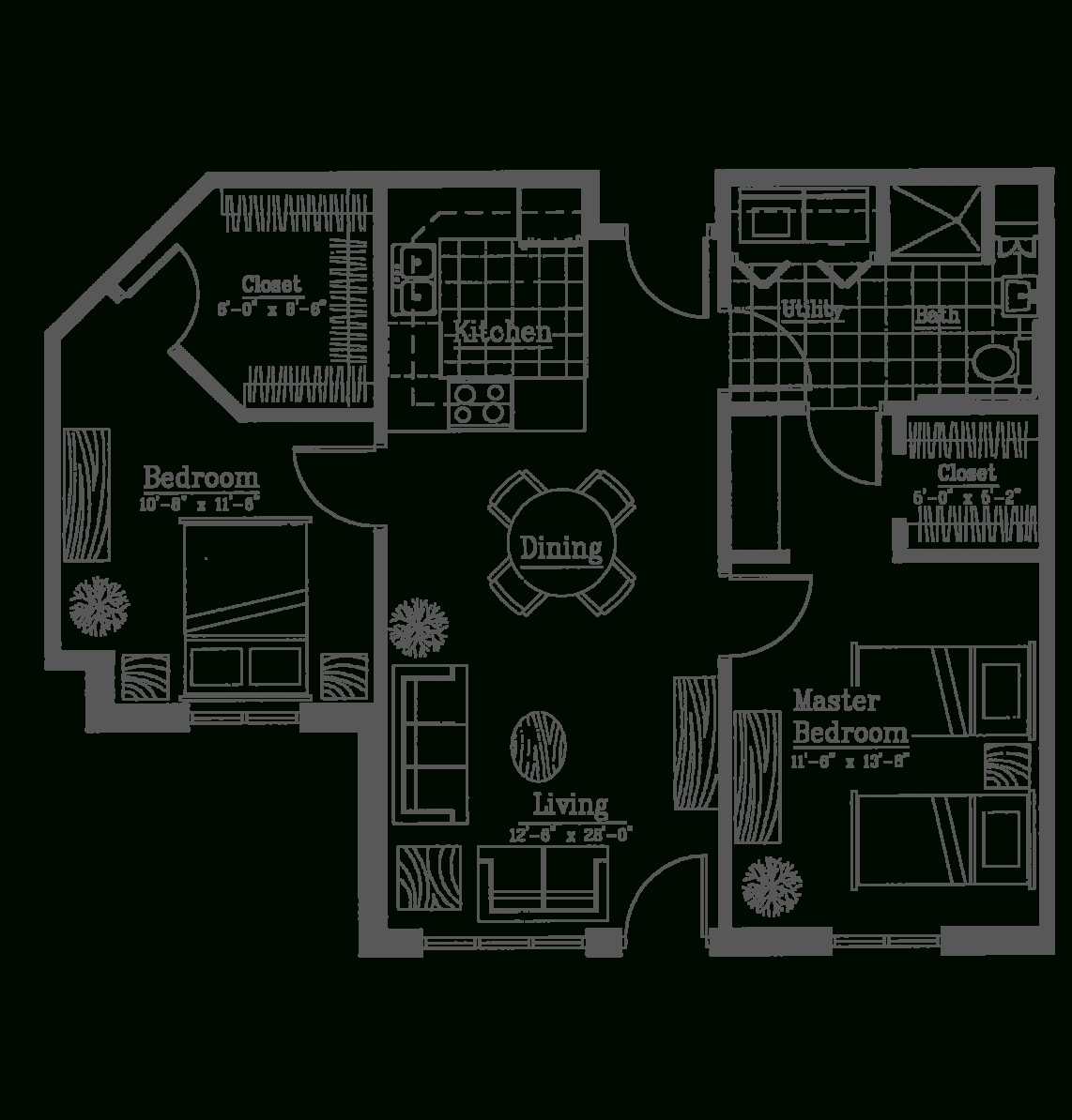 Apartment: One Bedroom Apartment Layouts for Garden Apartment Floor Plans