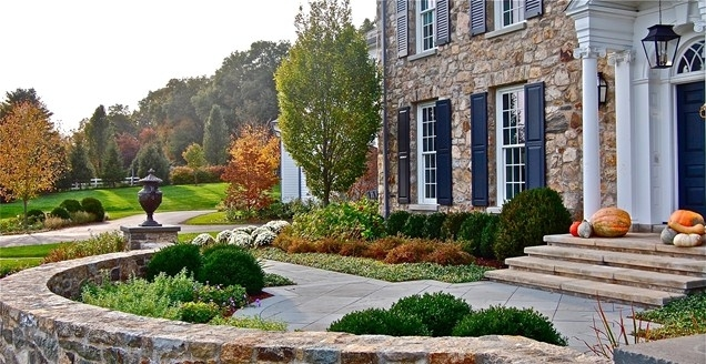 Formal, Front, Yard, Stone, Wall, Urn, Columns Front Yard inside Landscaping Ideas For Front Yard With Stone