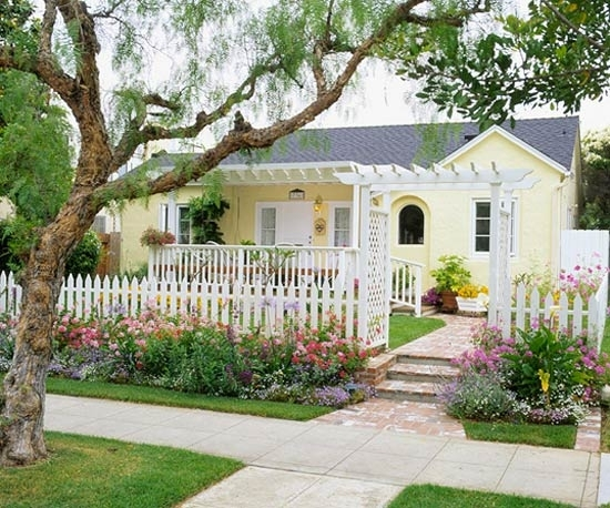 Front Yard Landscape Secrets | Yellow Cottage, Arbors And Front Yards throughout Landscaping Ideas For Small Ranch Style Homes Front Yard