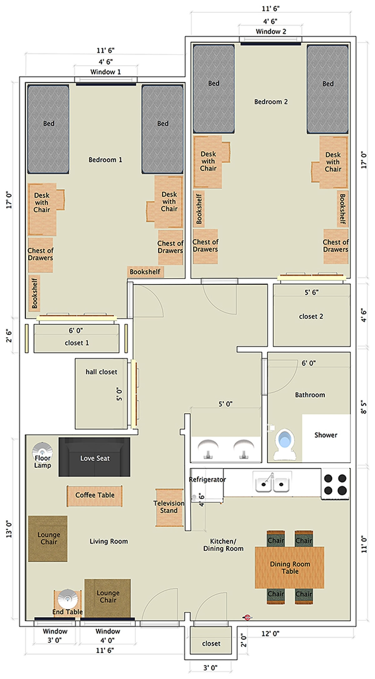 Nittany Apartments: 2-Bedroom Garden Apartment | Penn State with Garden Apartment Floor Plans