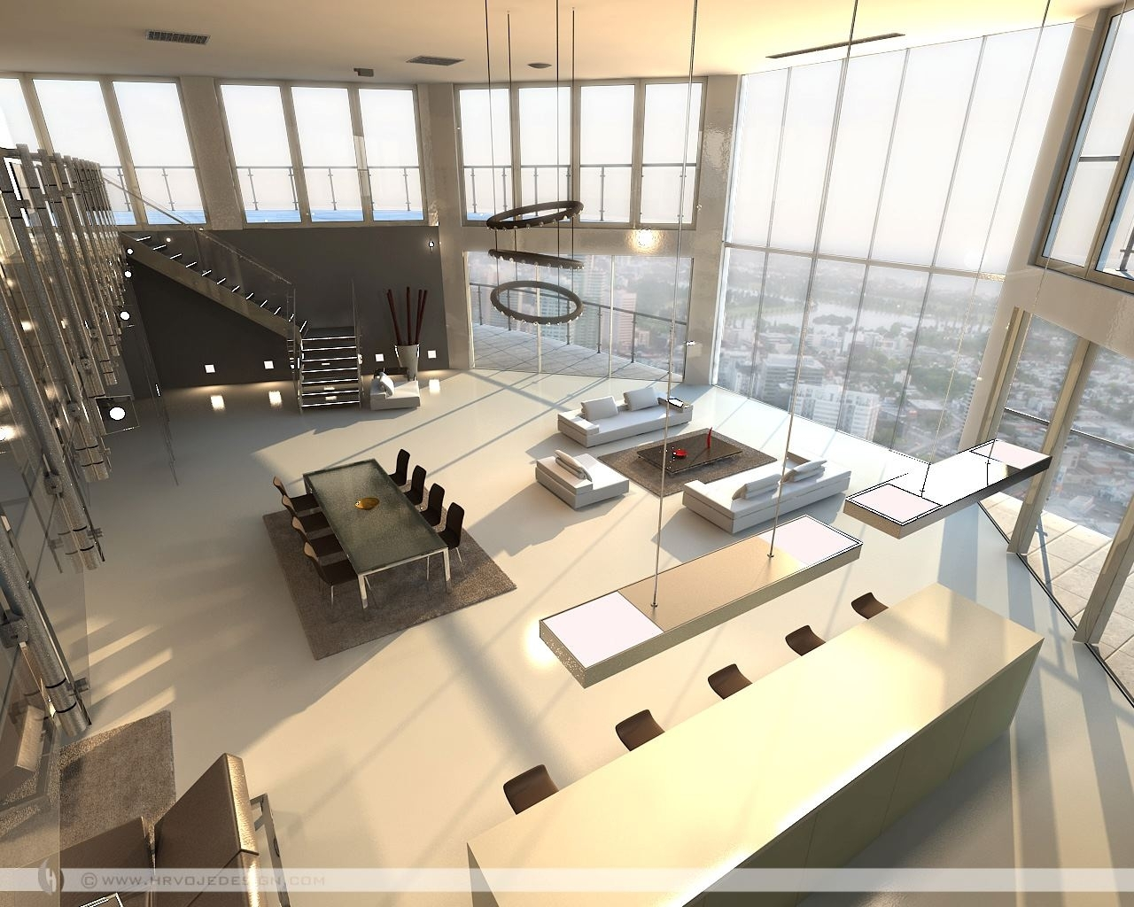 Open Plan Penthouse Design Layout. Living Rooms With Great Views pertaining to Best Layout For Forest Garden Apartments Design Ideas