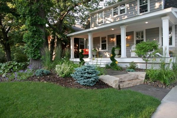 Stone Steps Transition Between Levels Of This Minneapolis Front with Landscaping Ideas For Front Yard With Porch