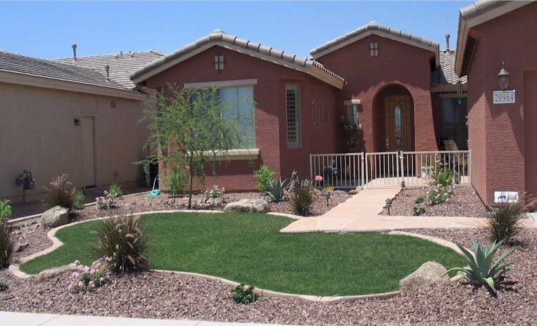 Arizona Tropical Landscape Design With Sod, Palm Trees, Plants regarding Landscaping Ideas For Front Yard Desert