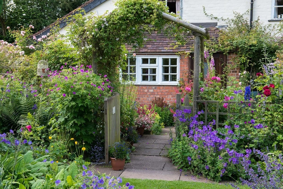 Country Cottage Garden House Planted With Various Kind Of Cottage for Cottage Garden Design For Front Yard