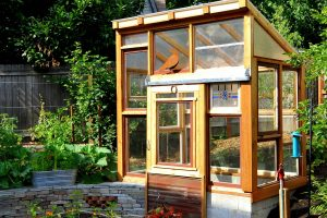 Greenhouse And Raised Bed Vegetable Garden Surrounded By Perennial intended for Backyard Vegetable Garden Greenhouse