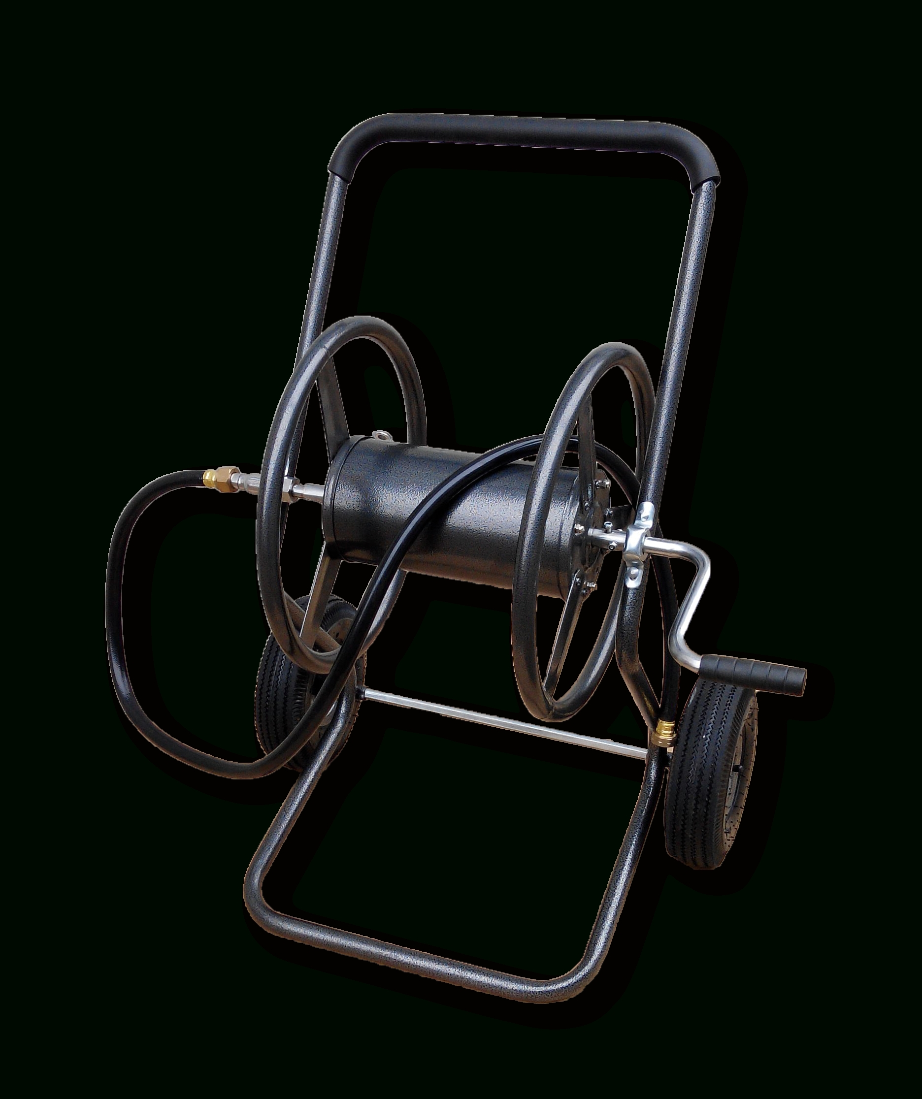 Two Wheel Hose Reel Cart With Leader Hose - Walmart with Backyard Expressions Garden Hose Reel Cart