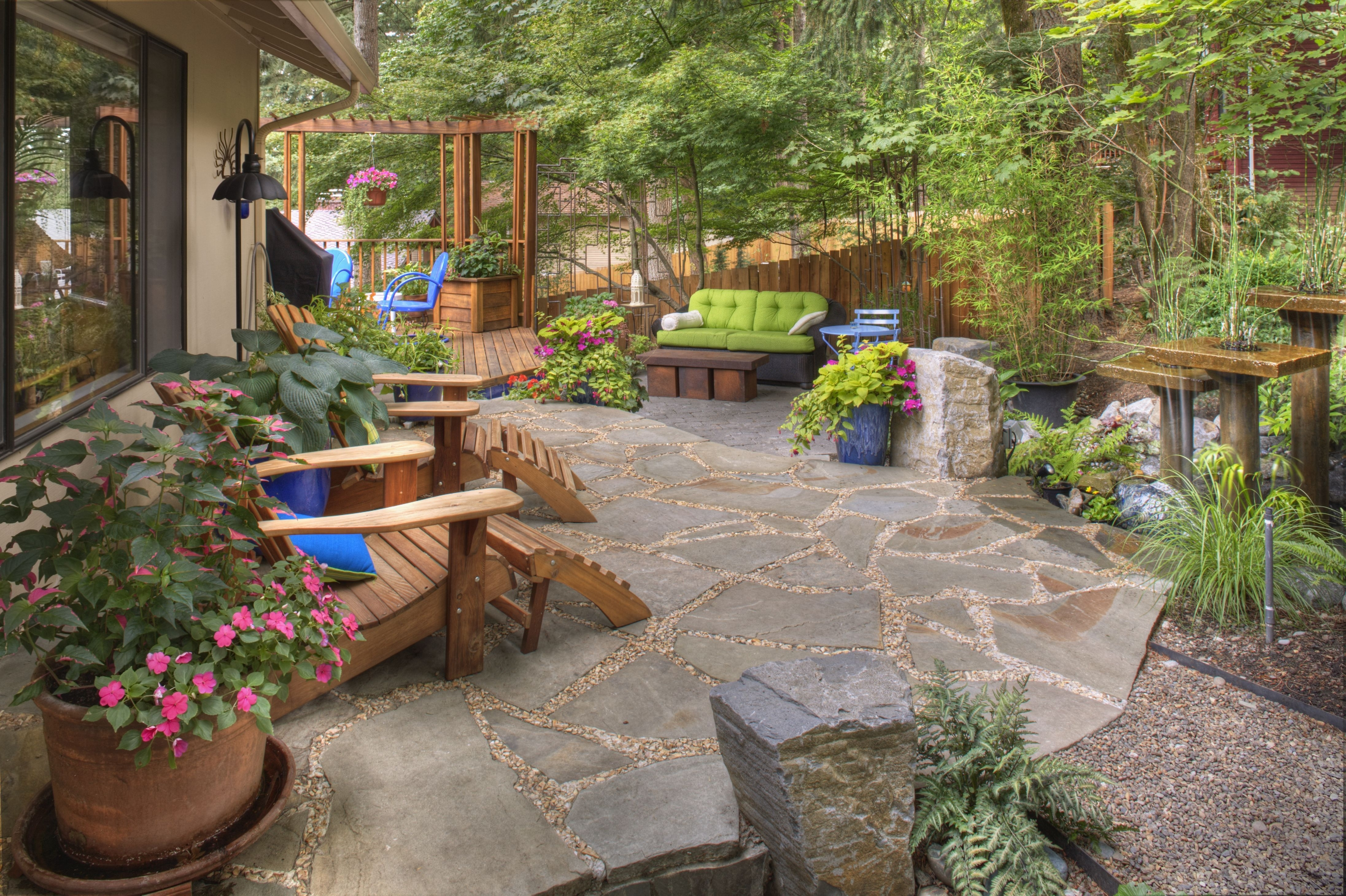 Woodsy Backyard Becomes Colorful | Deck, Landscaping & Patio Ideas with regard to Rustic Backyard Garden Ideas