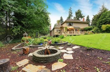 House With Spacious Backyard Area. Garden Beds And Fire Pit Stock within Garden House With Fire Pit