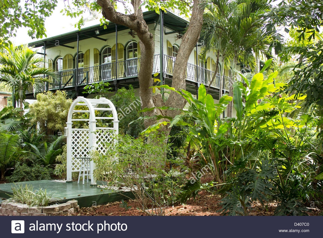 Hemingway House Gardens Key West Stock Photos & Hemingway House in Garden House Key West Florida