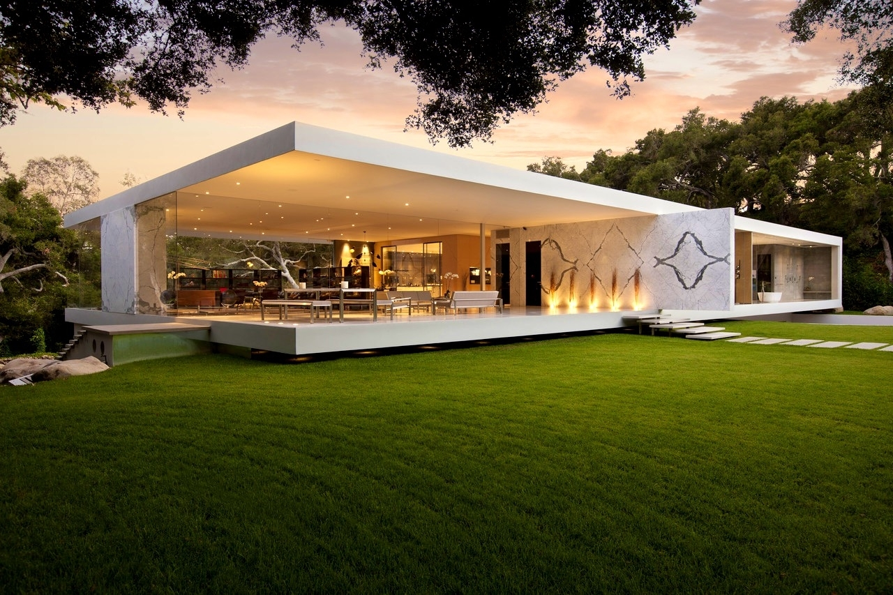 Minimalist Glass House Design Features Modern Concrete Slab House within House Design With Garden In The Middle