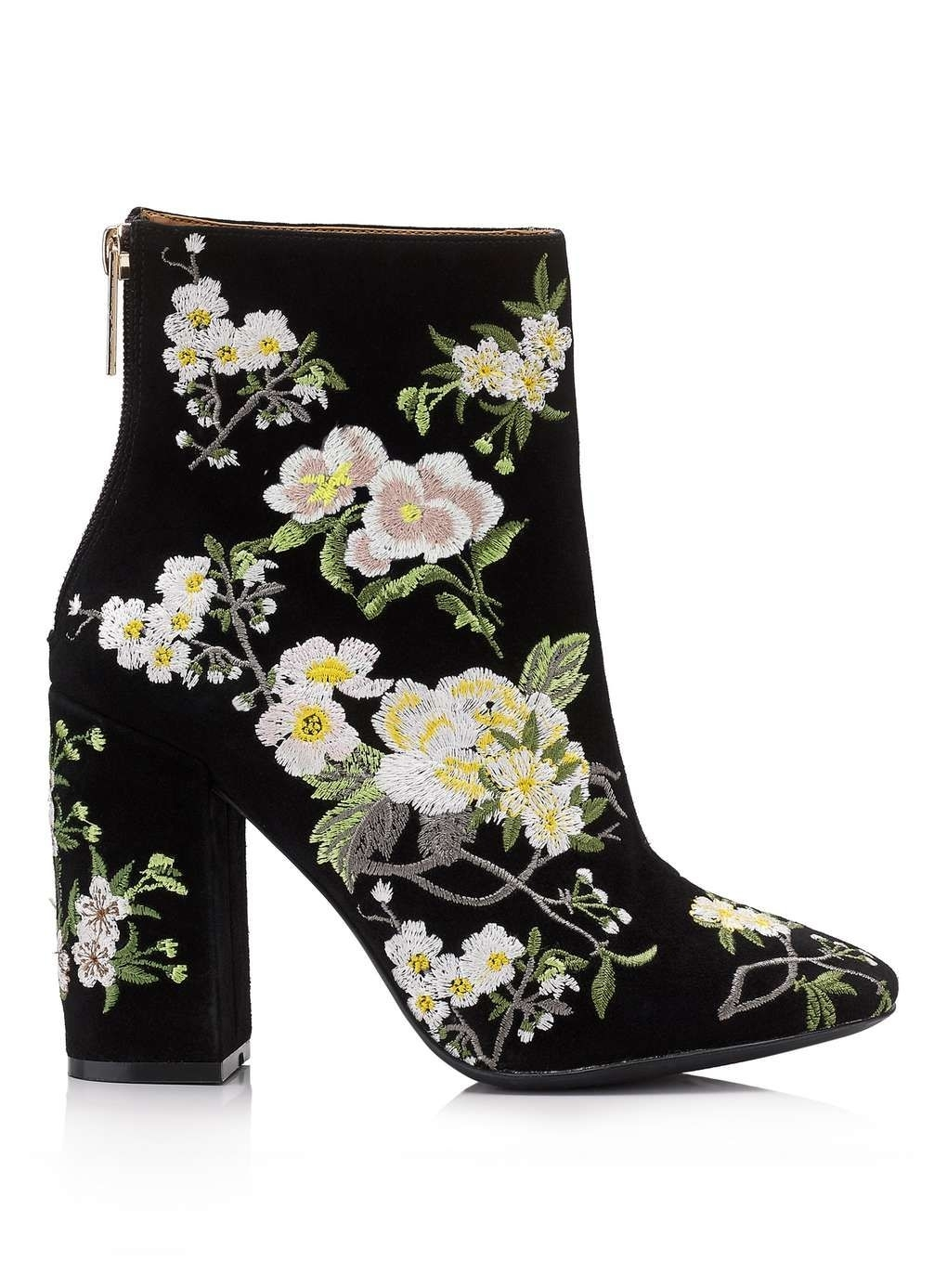 Athena Floral Embroidered Boot In 2019 | Accessories | Floral Ankle in Garden Flowers Embroidered Mesh Booties