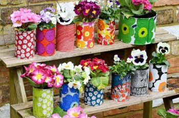 Easy To Make Colourful Tin Can Planters - Pillar Box Blue throughout Garden Flowers Made From Tin Cans