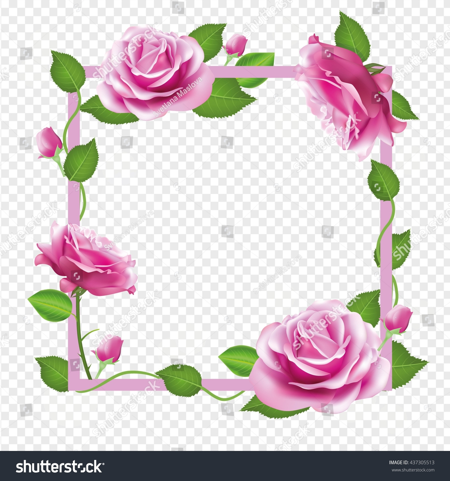 Flower Frame Pink Roses Vector Border Stock-Vektorgrafik (Lizenzfrei with regard to Garden Flower Frame Design Art Vector