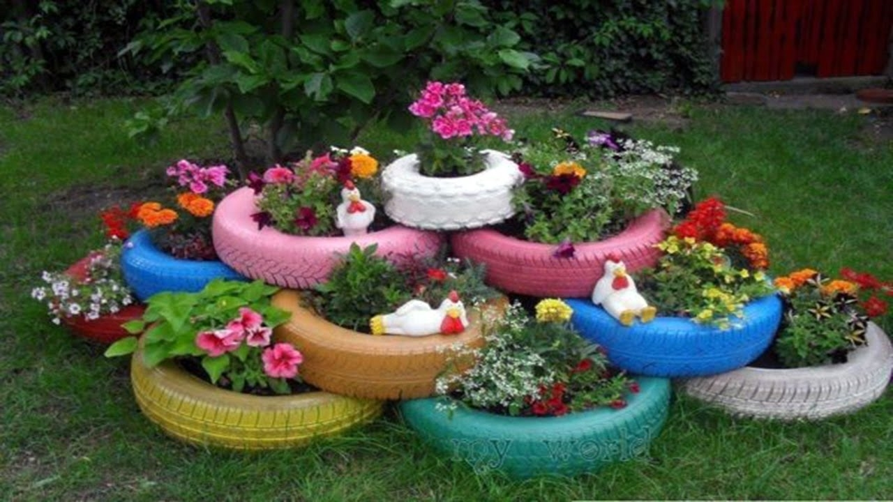 How To Use ·▭· · ··· Old Tires As Garden Planters, Full ᴴᴰ inside Flower Garden Using Old Tires