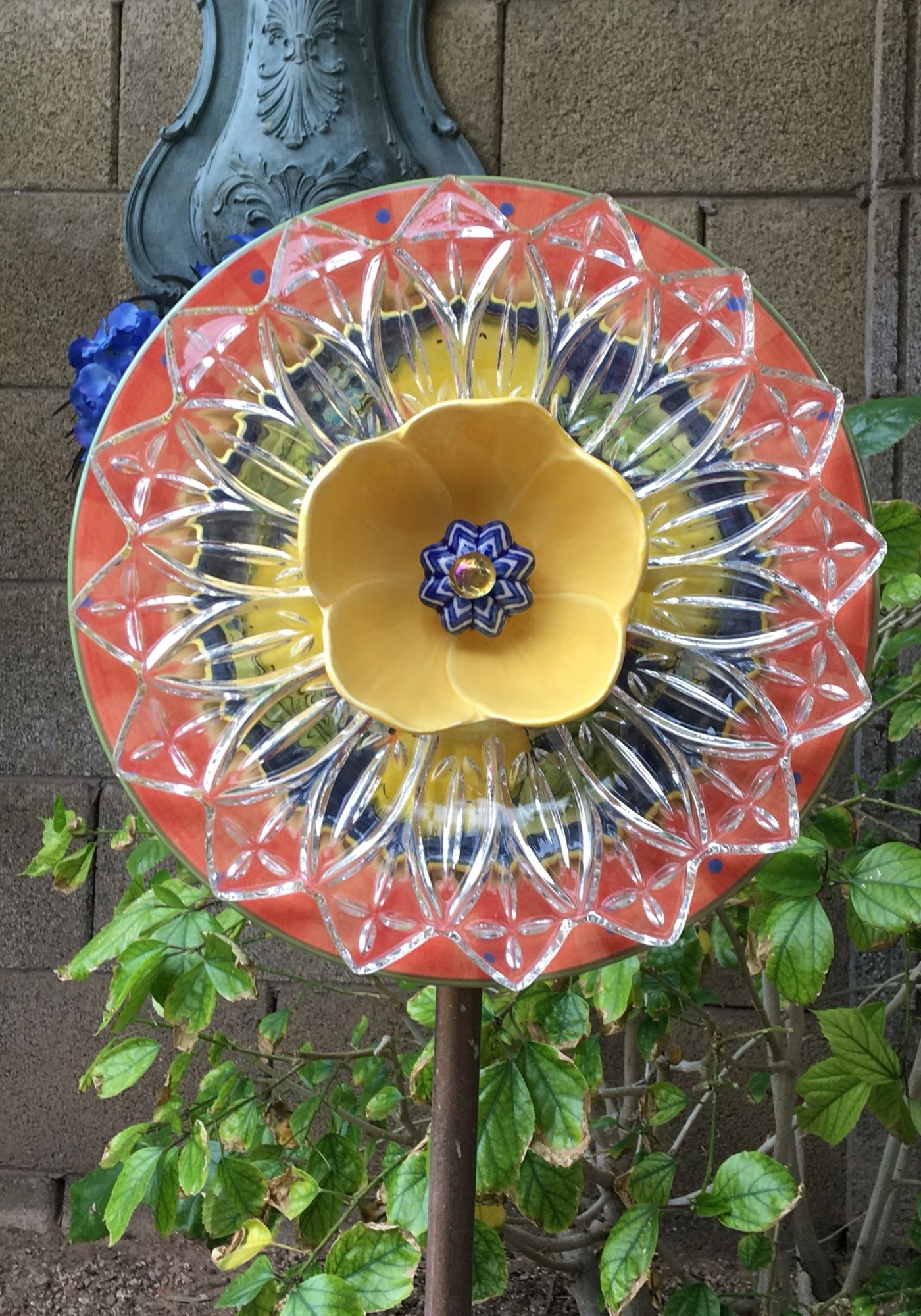 Plate Flower Made Of Repurposed Items. | For The Garden | Pinterest for Garden Flowers Made From Plates