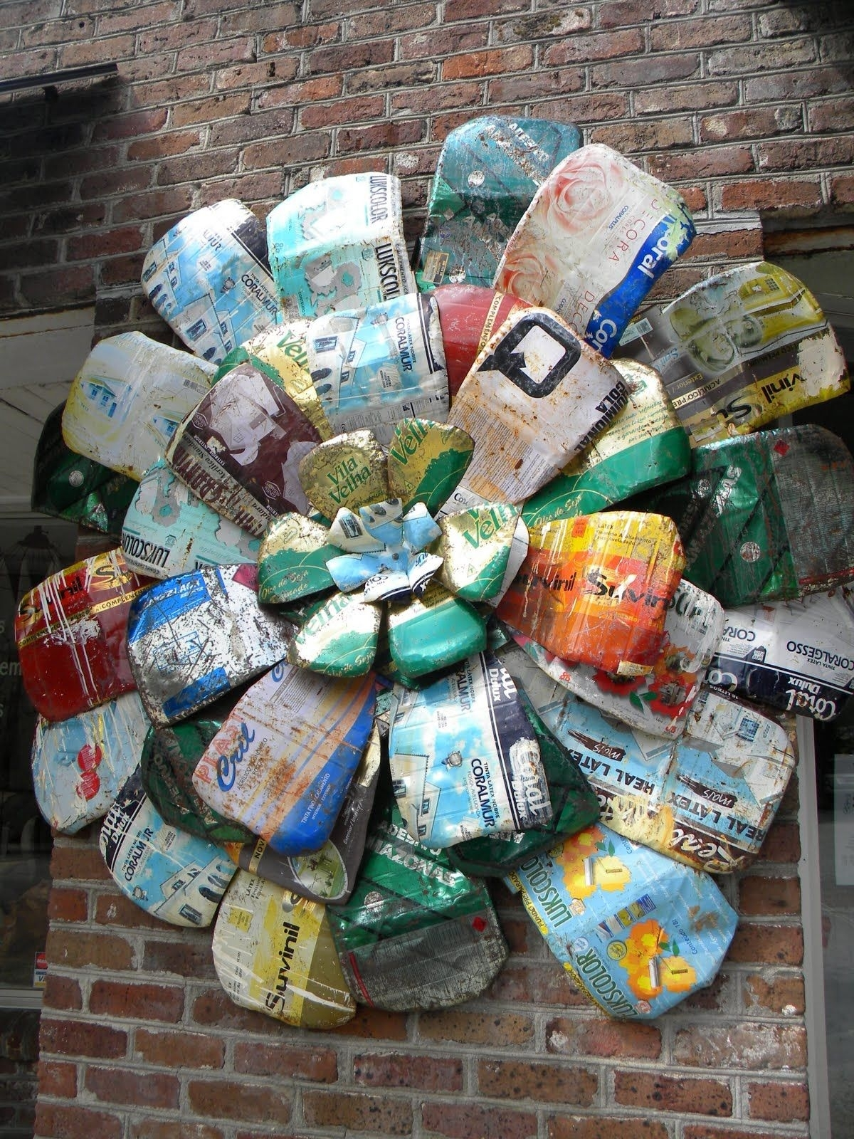 Yard Art Ideas   Am Lovin' This Metal Flower Made From Recycled Cans within Garden Flowers Made From Tin Cans