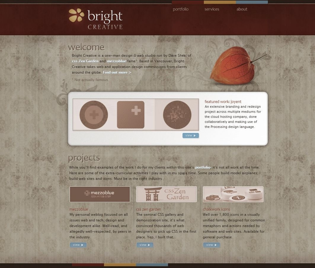 Bright Creative Is The One-Person Design And Web Studio Run By Dave for Zen Garden Web Design