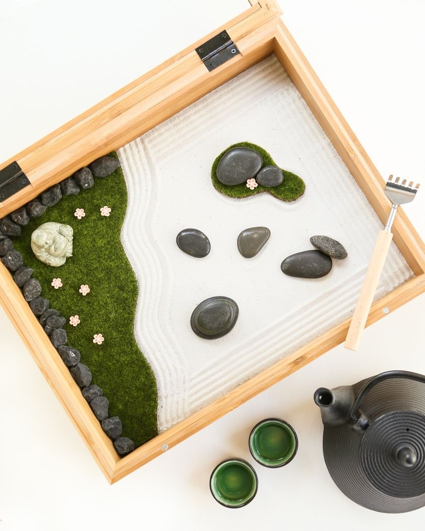 Diy Mini Zen Garden. A Shadow Box, Metal Back Scratcher And Some for Diy Mini Zen Garden Ideas