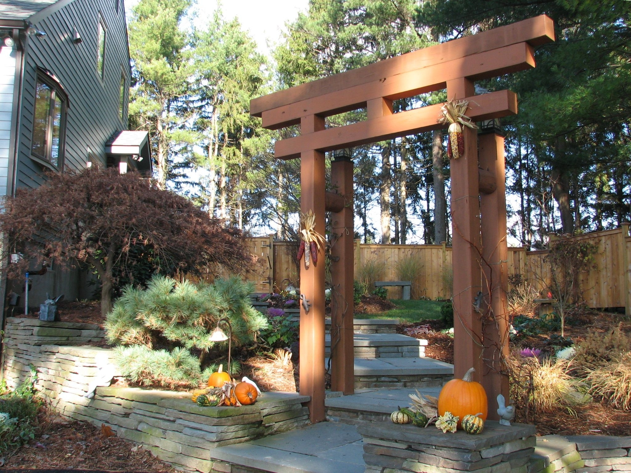 Japanese Arbor Idea - Blue Stone Walkway With Japanese Garden throughout Zen Garden Design With Shinto Gate