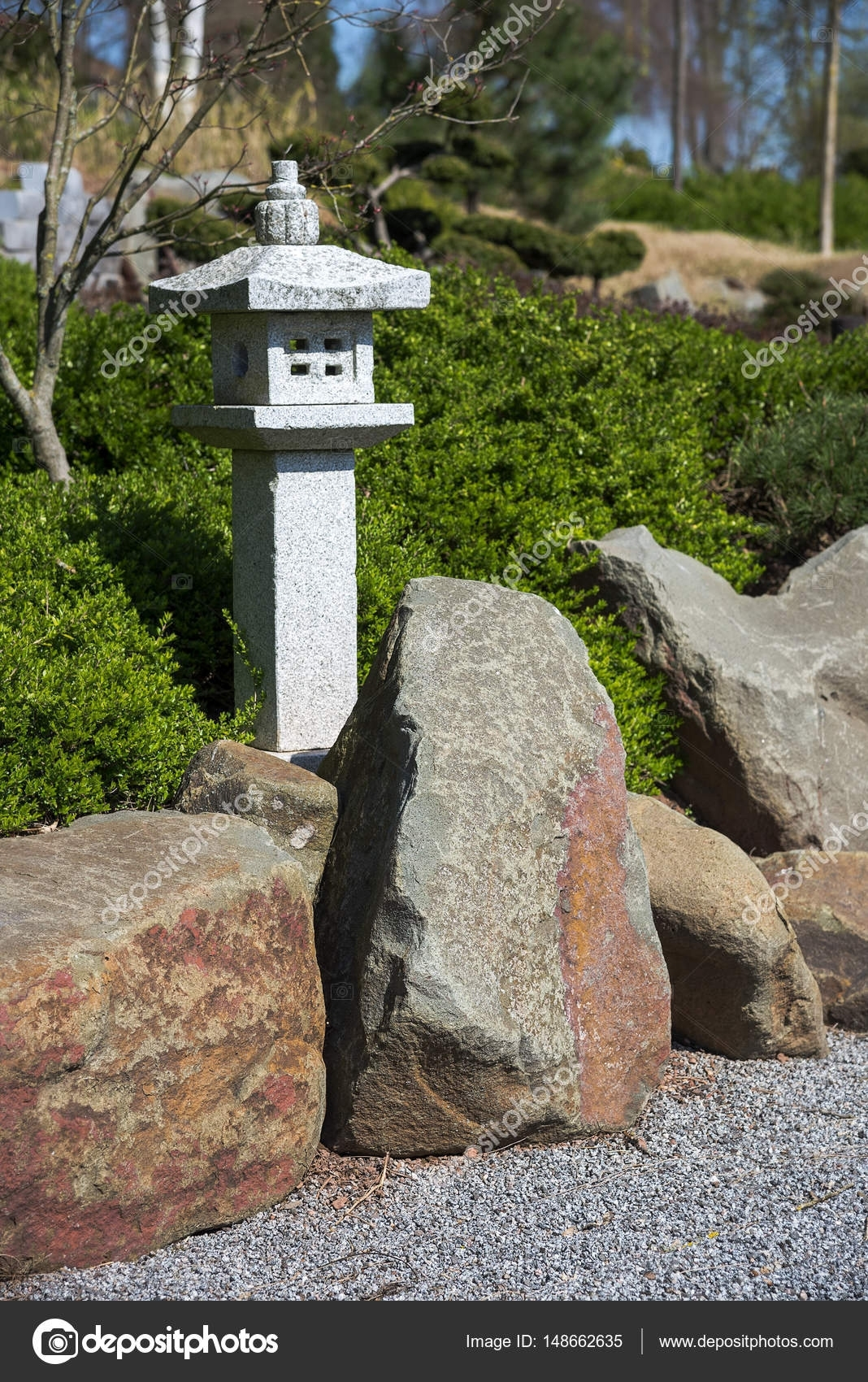 Stone Lantern, Rock And Raked Gravel, Zen Garden Landscape Design In regarding Zen Garden Landscape Design
